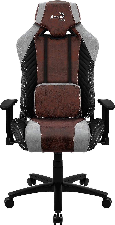Aerocool Baron Silla Gaming, AeroSuede Transpirable, Respaldo Ajustable, Negro, Rojo