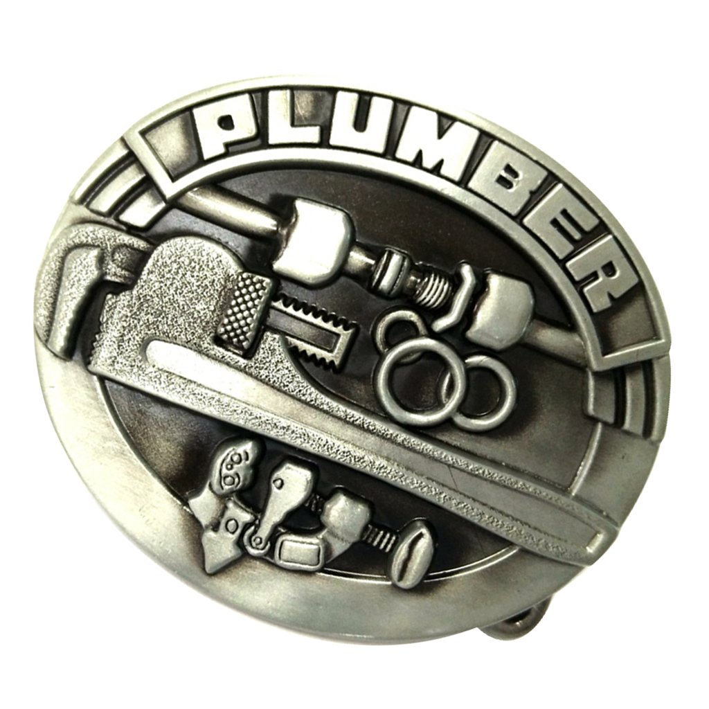Dovewill Western PLUMBER Men's Saw Tools Oval Alloy Belt Buckle for Jean Accessories