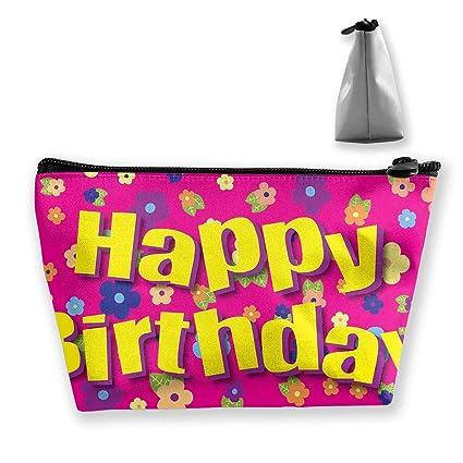 Feliz cumpleaños Flores Bolsa de almacenamiento trapezoidal ...