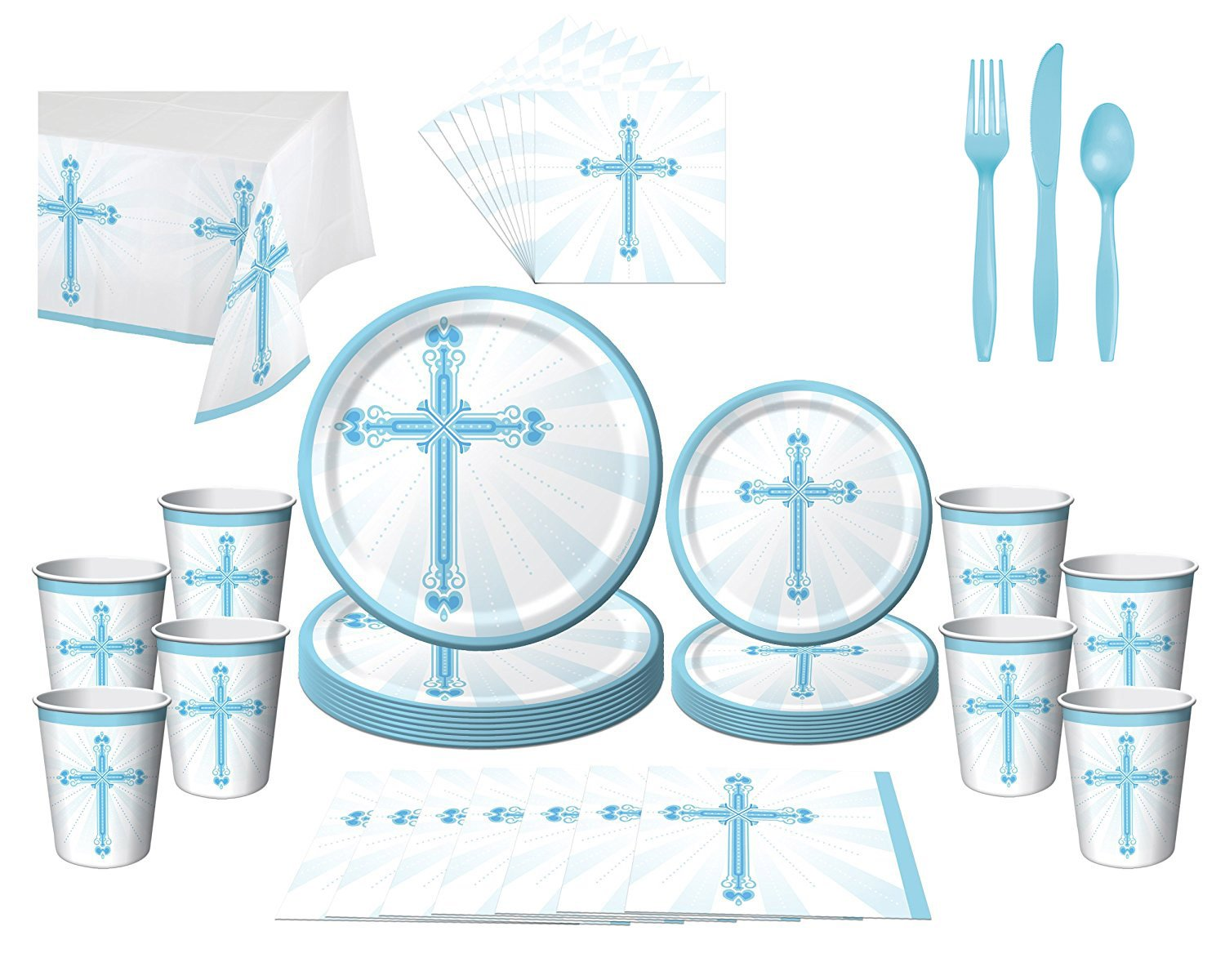 First Communion Baptism Christening Confirmation Party Bundle (16 Guests) (BLUE)