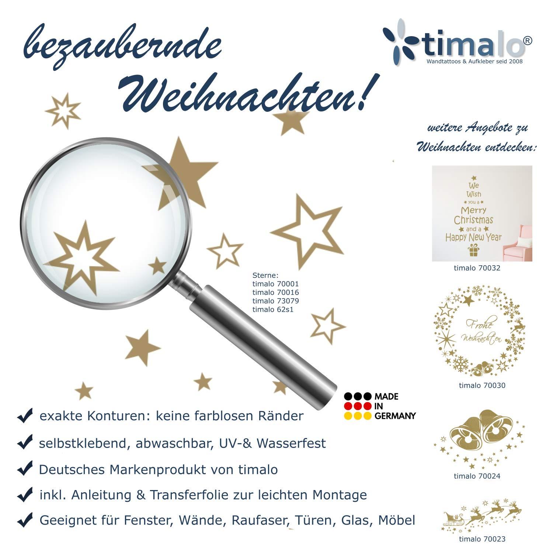 30 St/ück goldene Sterne Aufkleber Wandtattoo Fensterdekoration zu Weihnachten Fensterbild//Fensteraufkleber
