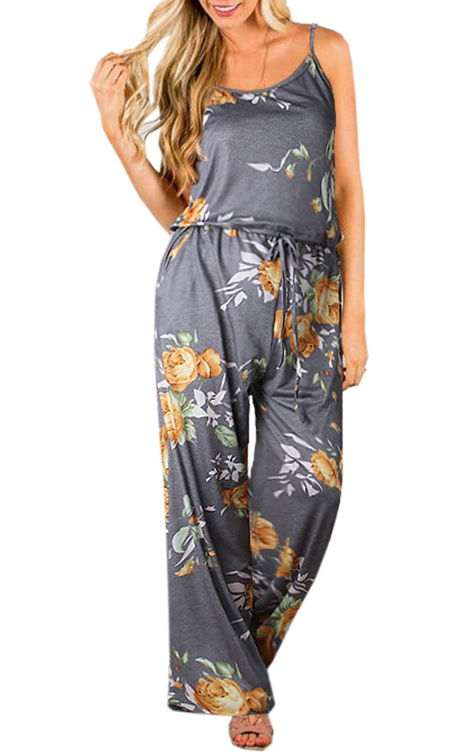 ECOWISH Womens Jumpsuits Summer Floral Printed Spaghetti Strap Sleeveless Casual Jumpsuit Rompers Yellow XL
