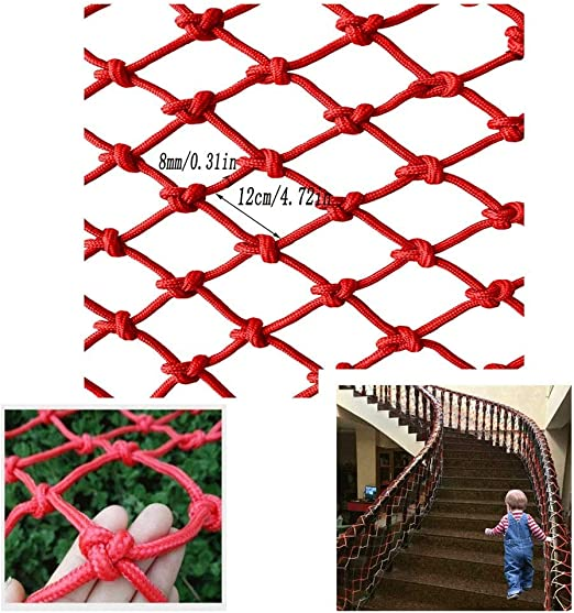 Red de Seguridad for niños, Red de protección Balcón Valla de Malla Malla for niños Escalera Red de Seguridad Red de Nylon roja Red de Seguridad for Escalar Jardín (Size : 3x9m):