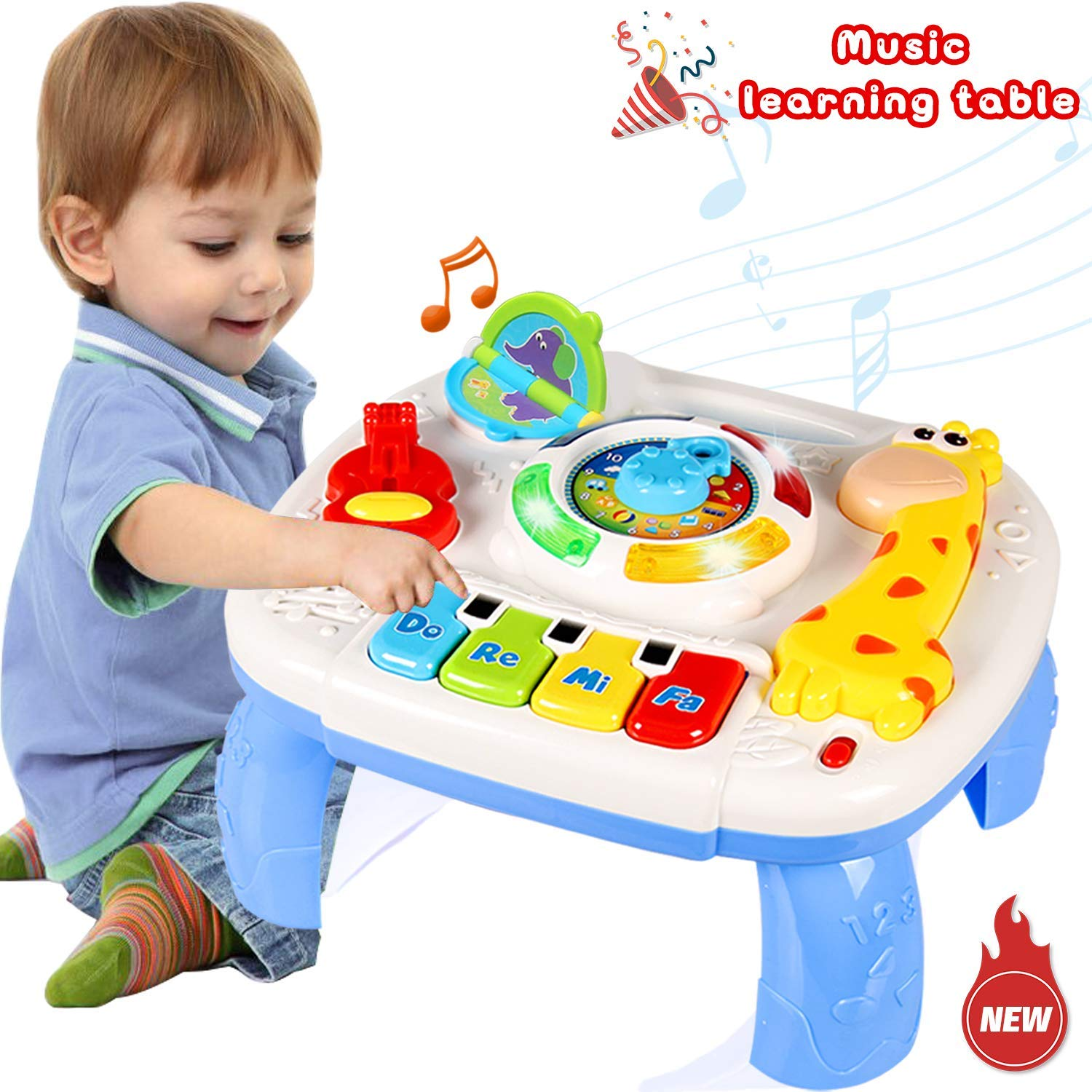 WISHTIME Toddler Learning Table Music Toy 2 in 1 Early Education Toys Music