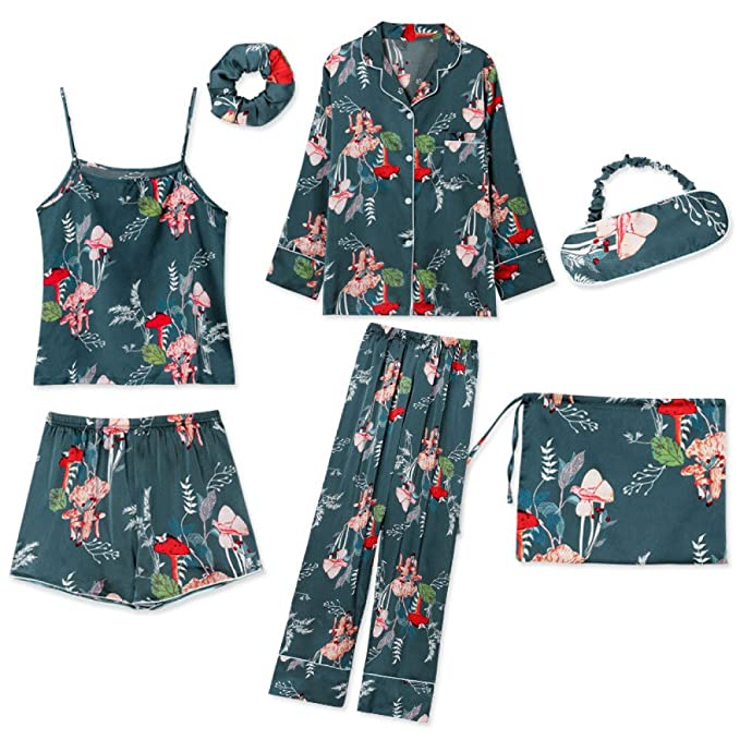 Pijamas Mujeres Casa De Gasa Siete Conjuntos Flores Verdes Atractivas Pijamas De Manga Larga Delgadas Mujeres