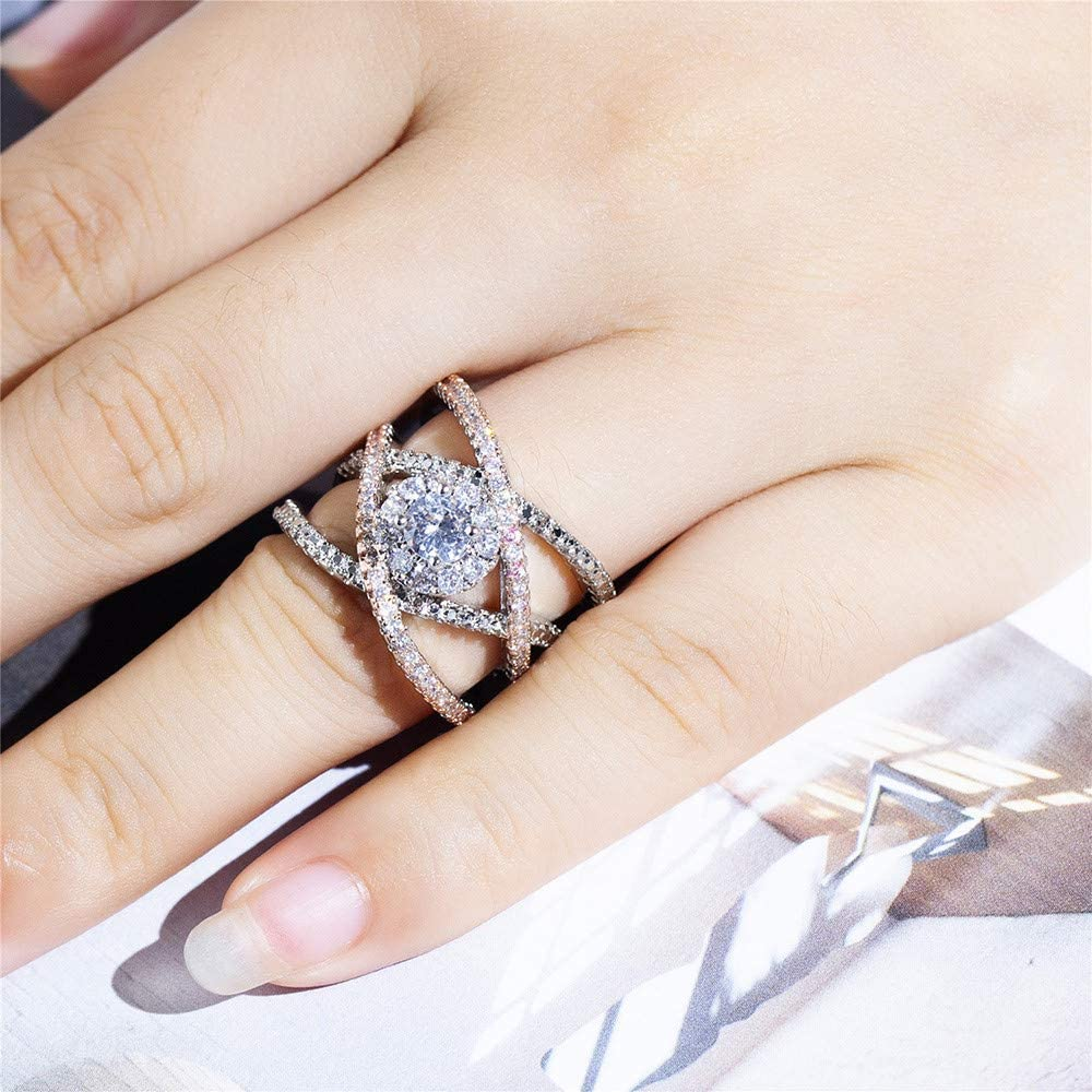 Haluoo Women Fashion Rings Double Criss Cross CZ Eternity Engagement Wedding Band Crystal Diamond Cylindrical Rings Promise Statement Ring for Women Girls Rose Gold Silver Plated