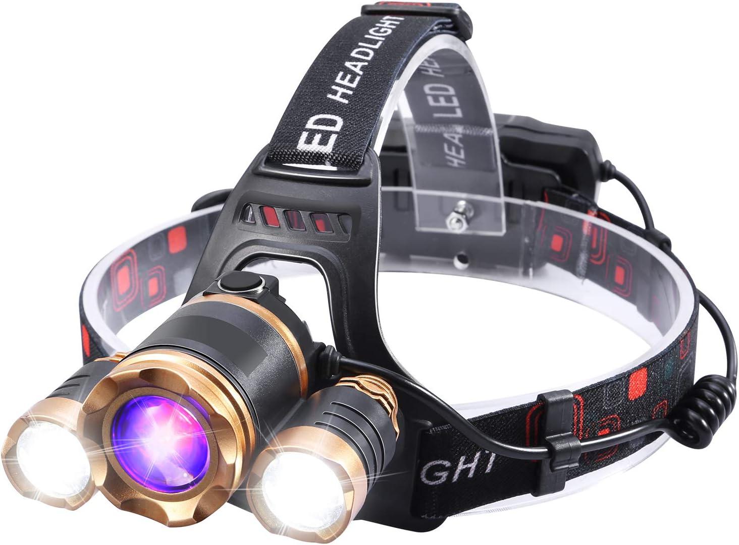 WODT Faros Delanteros Luces de Trabajo para Exteriores Faros Recargables USB para Correr Super Bright Head Torch 5000 l/úmenes Faros Delanteros LED