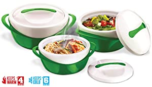 Pinnacle Casserole Dish - Large Soup and Salad Bowl Set - Insulated Serving Bowl With Lid - 3 Pc. Set Green