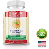 VITAsun Vitamin D3 5000 IU: Strongest-and-Affordable Vitamin d Enhanced with Magnesium for Better Absorption, Testosterone Booster, Multivitamin for Bone and Immune System Support, Non-GMO,180 Vcap