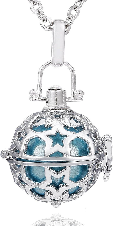 Morella Collar ángel de la Guarda de Acero Inoxidable 70 cm con Colgante Estrella y Bola de resonancia de circonita para Damas en Bolsa para Joyas