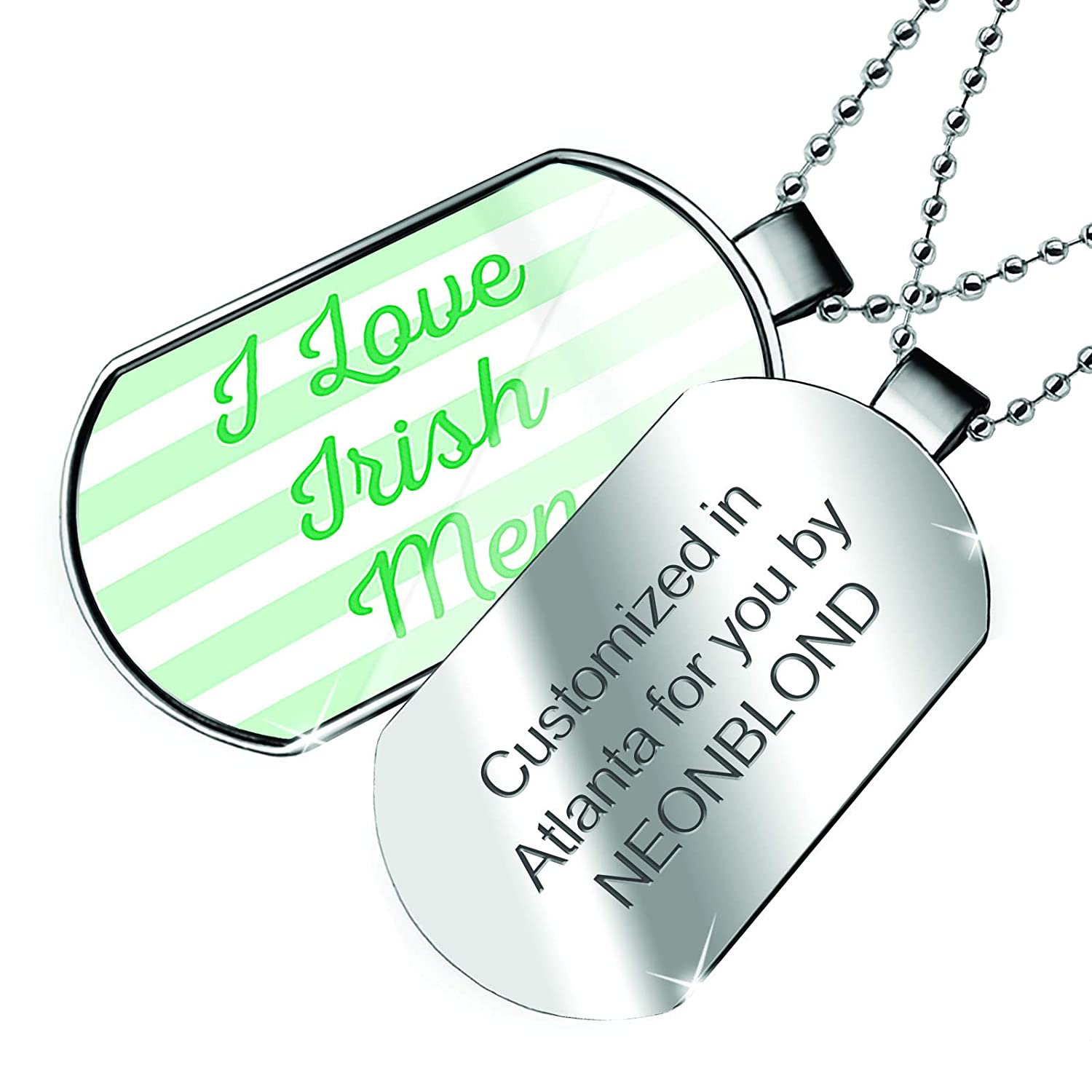 Patricks Day Simple Light Green Stripes Dogtag Necklace NEONBLOND Personalized Name Engraved I Love Irish Men St