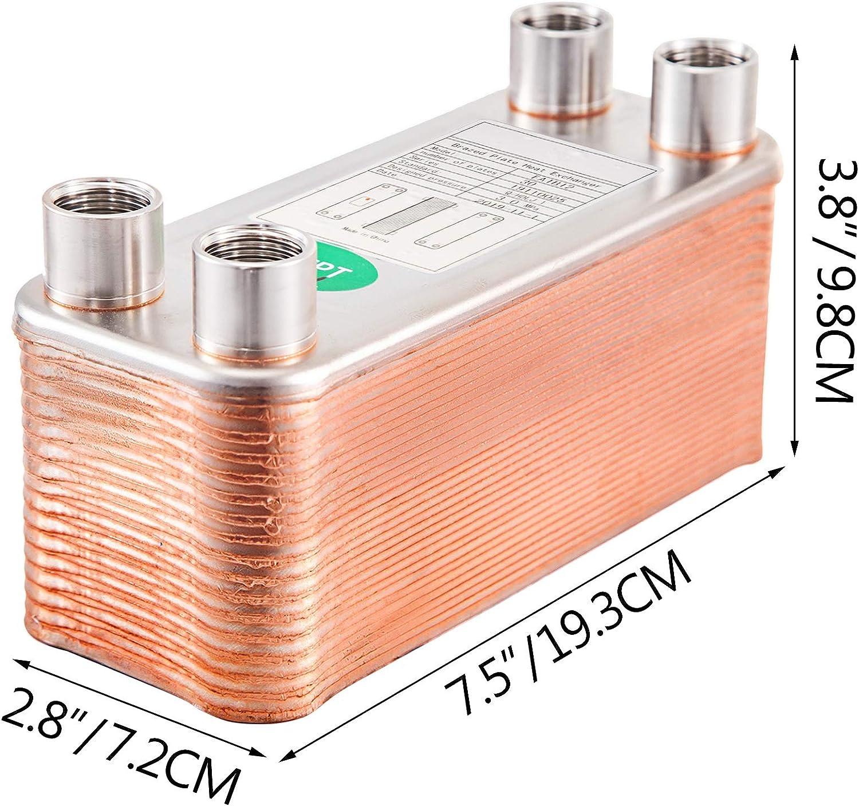 VEVOR Echangeur Thermique 1240FB12 Echangeur De Chaleur Thermique /à 40 Plaques pour le refroidissement dhuile industrielle//les /évaporateurs de r/éfrig/érant//les condenseurs