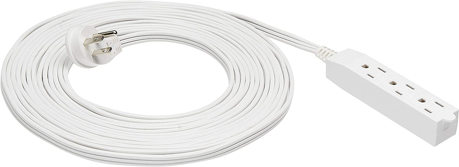 AmazonBasics Flat Plug Grounded Indoor Extension Cord with 3 Outlets, White, 25 Foot