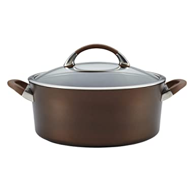 Circulon Symmetry Hard-Anodized Nonstick Covered Dutch Oven, 7-Quart, Chocolate
