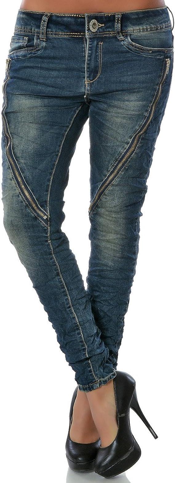 Damen Boyfriend Jeans Hüftjeans Harem Hose Haremshose 6 Farben 325