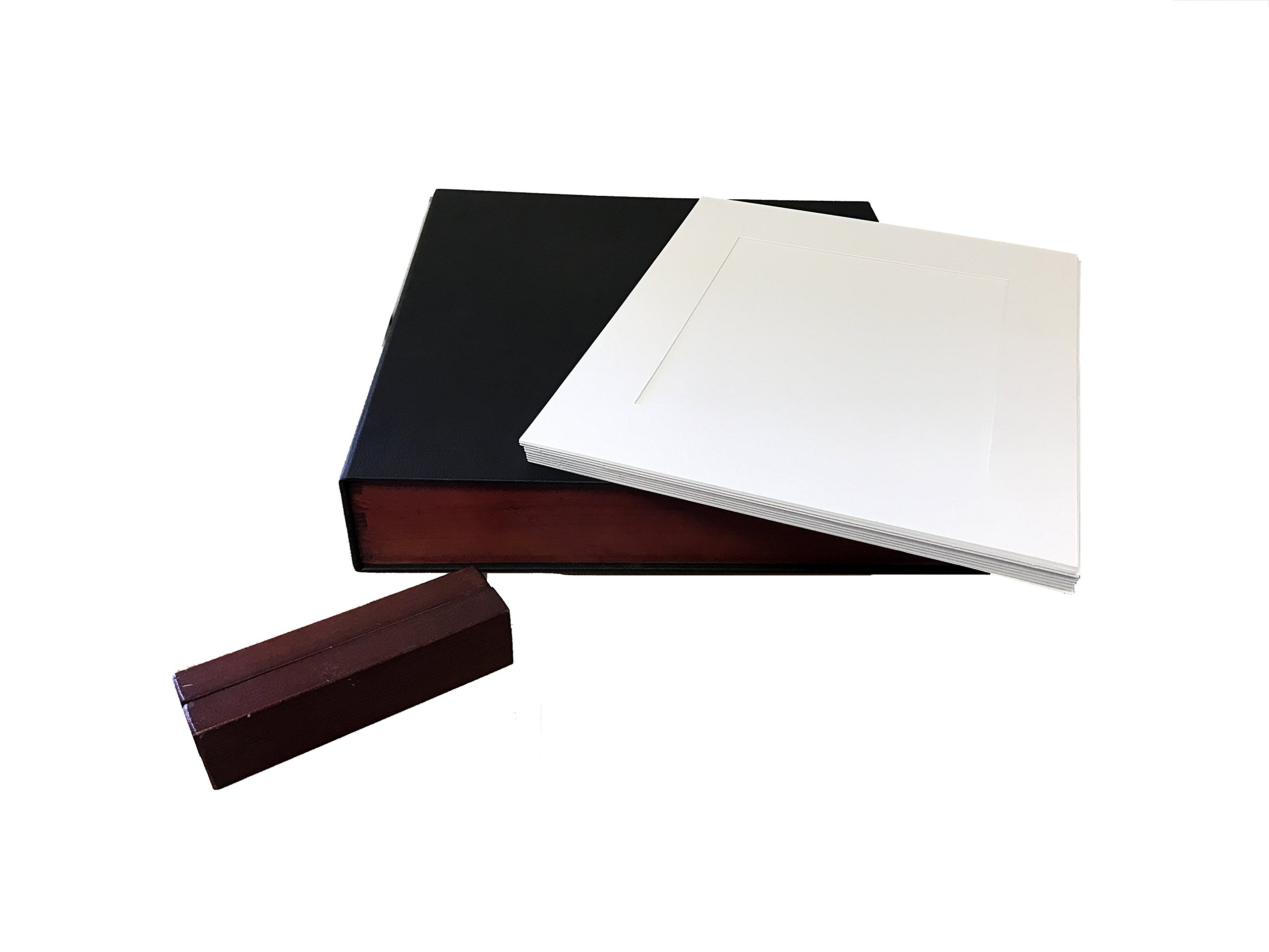 Showoff Albums Compartment Photo Box with 20 Premium White Photo Mats 11X14 Size for 8X10 Prints (Black with Wood Side Trim)