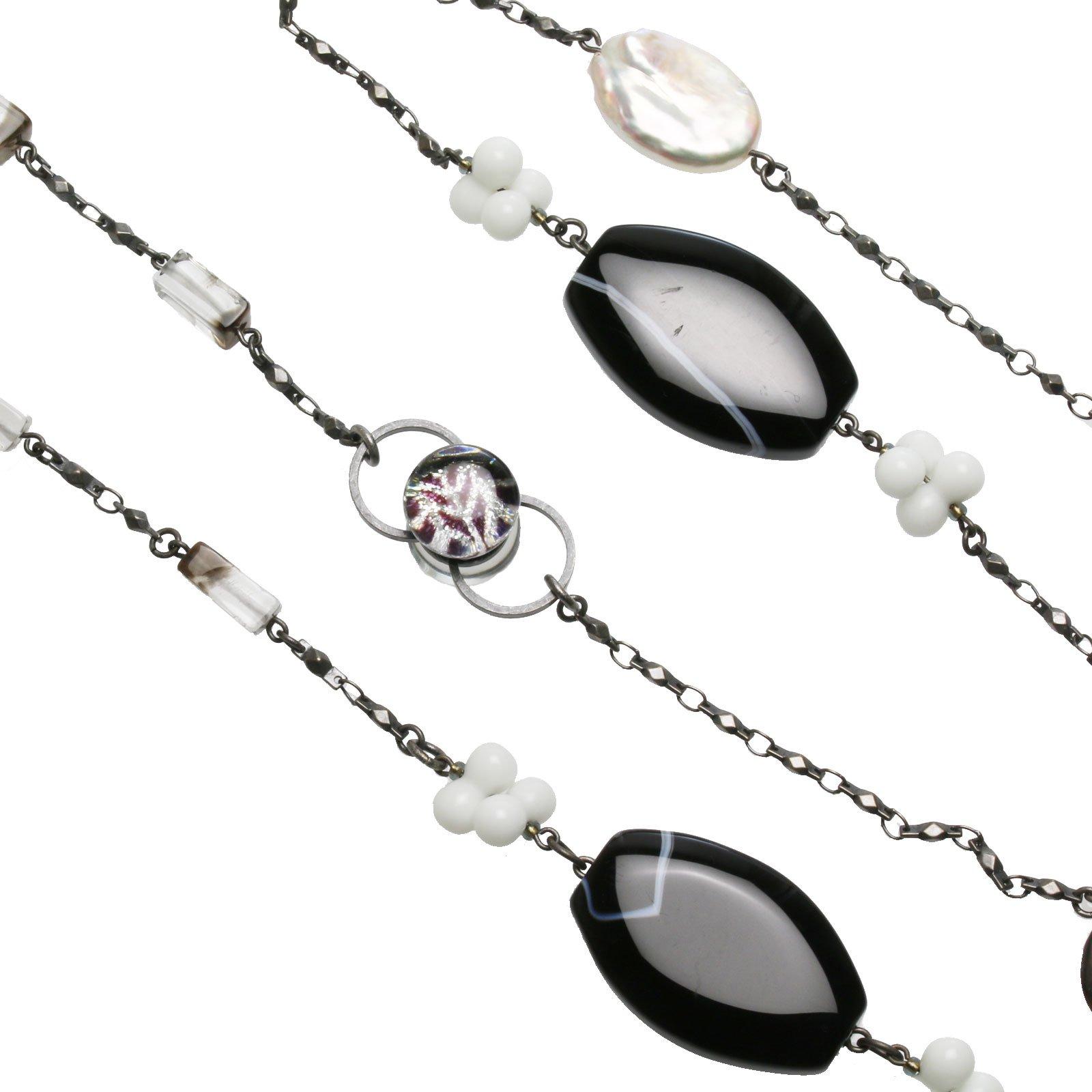 Tamarusan Eyeglasses Chain Necklace Shell Onyx Smokey Quartz Handmade