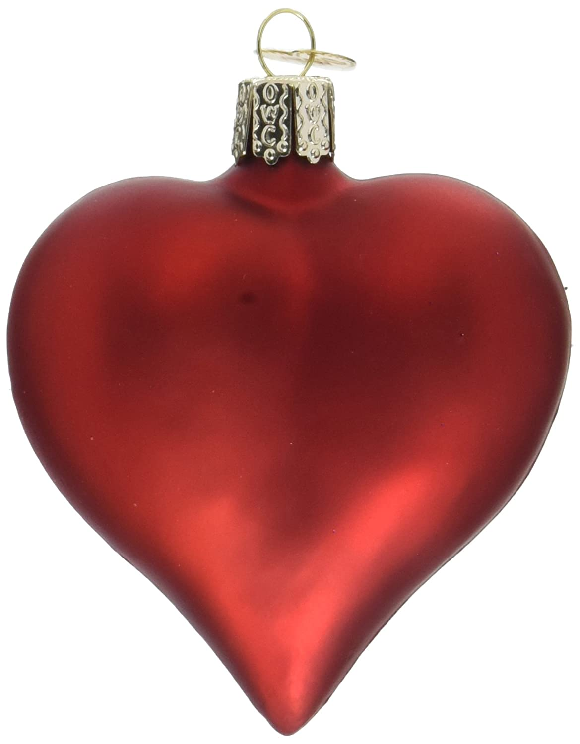 Red Christmas Ornaments.Old World Christmas Ornaments Large Matte Red Heart Glass Blown Ornaments For Christmas Tree