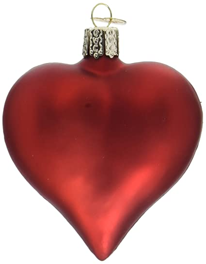 Christmas Heart.Old World Christmas Ornaments Large Matte Red Heart Glass Blown Ornaments For Christmas Tree