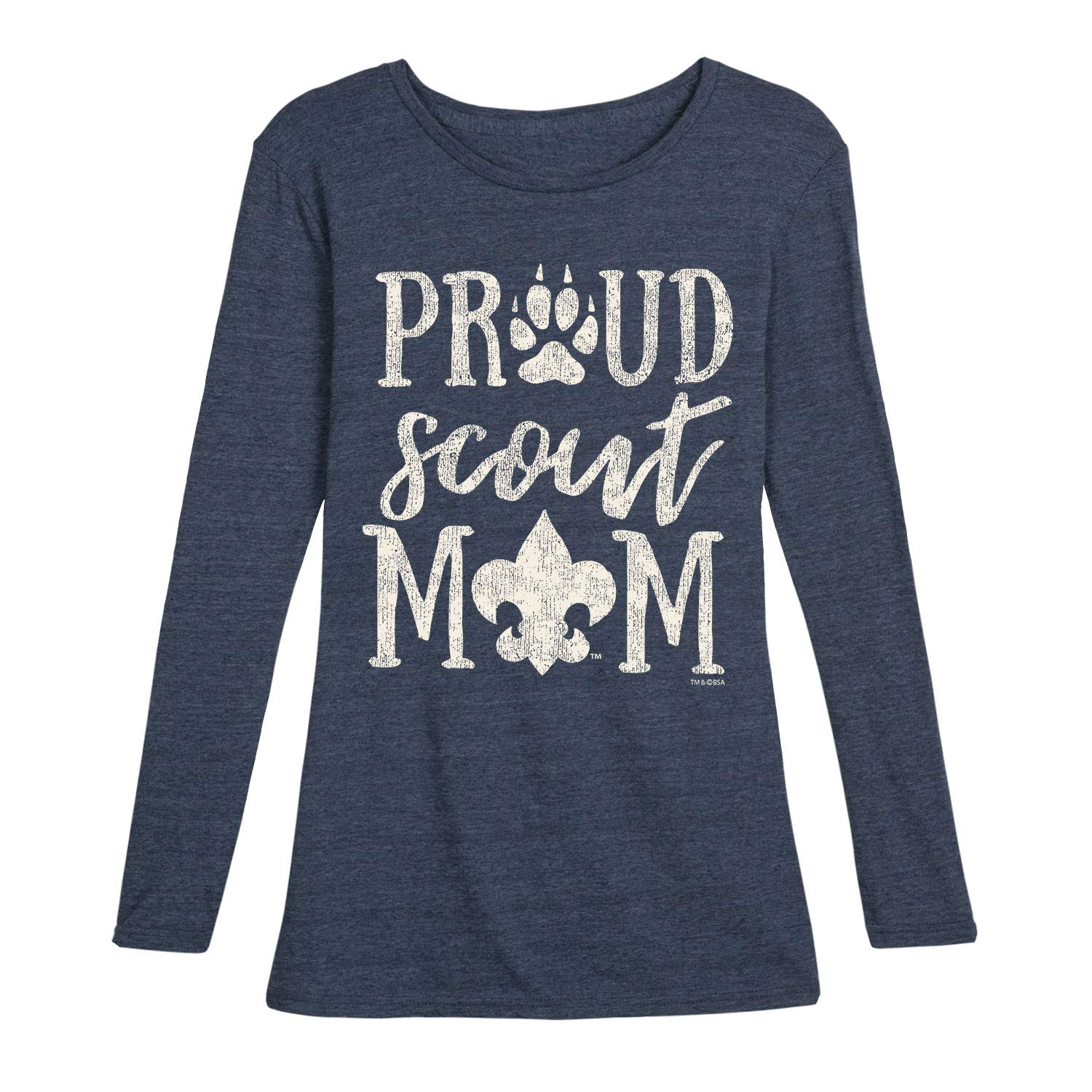 Boy Scouts of America Proud Scout Mom - Ladies Long Sleeve Tee Heather Blue by Instant Message