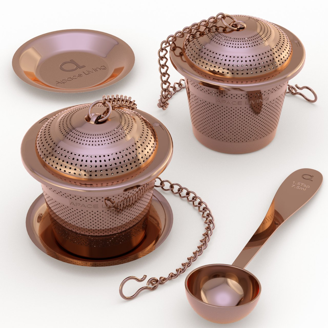 Apace Large Tea Infuser (Set of 2) with Tea Scoop and Drip Trays – Multi Cup Size Stainless Steel Loose Leaf Tea Strainer and Steeper