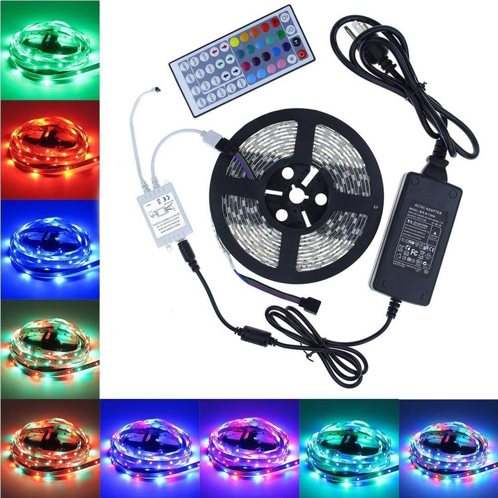 LED Strip Lights, GHONLZIN 16.4ft/5m SMD 5050 IP65 Waterproof RGB Flexible Light Strip Kit IR 44 Key Remote RGB Controller, Strengthen 3M Tape, 12V 5A Power Supply Indoor Outdoor GHONZLIN