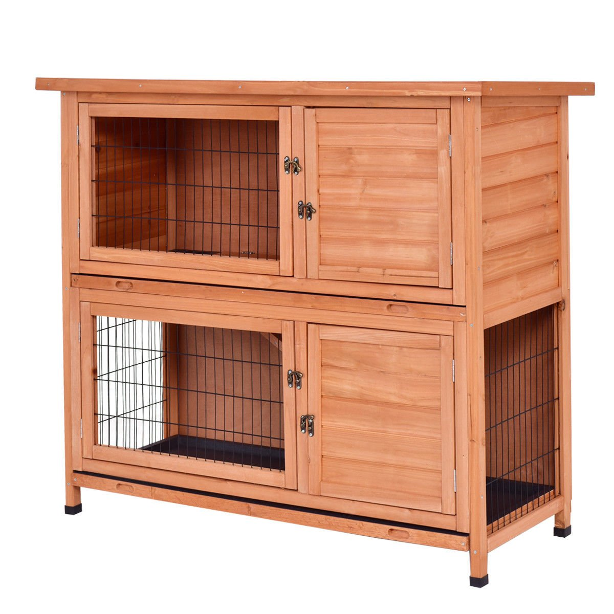 Tangkula Chicken Coop 48'' Rabbit Hutch Wooden Garden Backyard Bunny Hen House Pet Supplies with Ladder by Tangkula