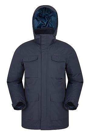 Mountain Warehouse Doudoune Longue Concord Extreme Homme Coutures thermosoudées, Imperméable, Capuche Amovible, 4 Poches Design Exclusif