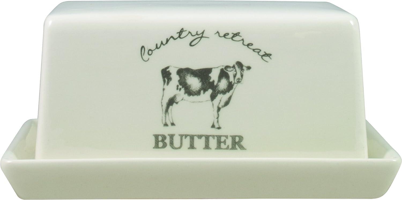 David Mason Design Country Retreat Butter Dish, Ceramic, White uk home DAX5C DD0317A02