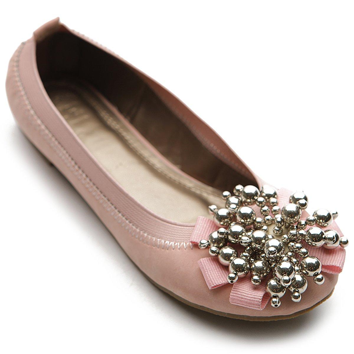 Ollio Women's Ballet Shoe Soft Cute Silver Bead Accent Flat