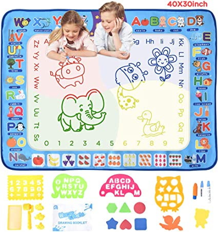 Amazon Com Hailicare Aqua Magic Doodle Mat 40 X 32 Inches Large Water Drawing Mat No Mess Kids Coloring Painting Writing Doodle Board Educational Toys Gifts For Toddlers Boys Girls Age