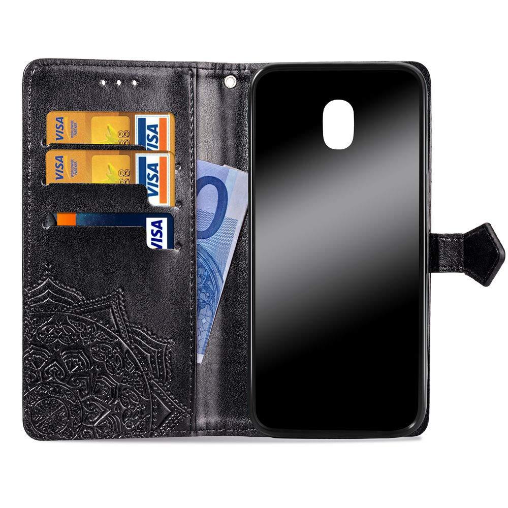 for Samsung Galaxy J3 Achieve //J3 Star//J3 V 2018//Amp Prime 3//Express Pime 3//Sol 3 Case,Henna Mandala Floral Flower Wallet PU Leather Flip Phone Case Cover with Card Slots Holder /& Kickstand,Rose Gold