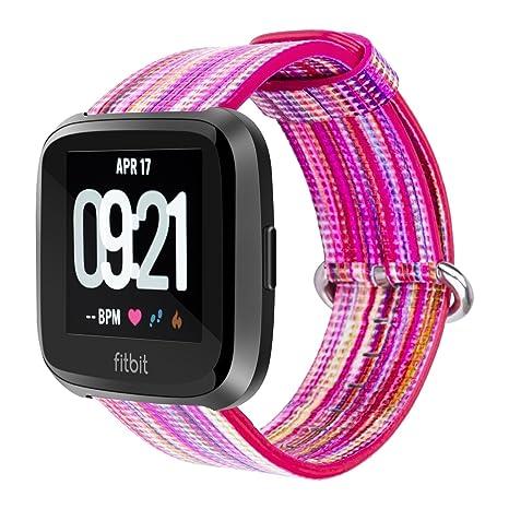 Correa de piel auténtica de repuesto para reloj inteligente Fitbit Versa, de YOUKESI, colorida