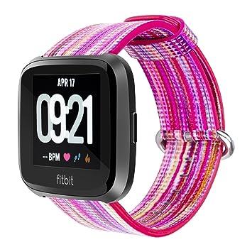Correa de piel auténtica de repuesto para reloj inteligente Fitbit Versa, de YOUKESI, colorida, unisex: Amazon.es: Deportes y aire libre