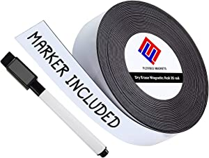 Dry Erase Magnetic Strips - Roll of Writable Whiteboard Magnets - Writable Flexible Magnet - Name Plates - Magnetic Labels- Dry Erase Name Tags - Marker Included (2 Inch x 50 Feet)
