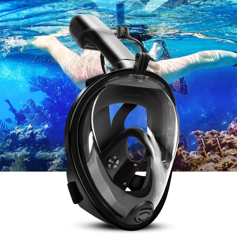 ELEPOWSTAR Snorkel mascarilla natación inmersión snorkel ° cara panorámica completa anti fog
