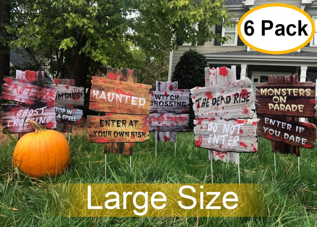 YardSigns for HalloweenBeware Signs Yard Stakes Warning Yard Sign Stakes for Halloween Decorations Outdoor Lawn Decorations, Pack of 6 Yard Decorations for Haunted House, Scary Theme Party