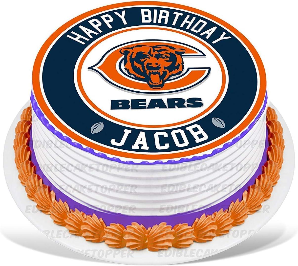 Peachy Amazon Com Partyprint Chicago Bears Edible Cake Topper Funny Birthday Cards Online Fluifree Goldxyz