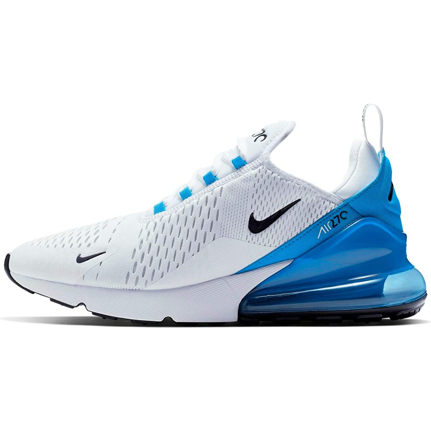 Nike Air Max 270 Mens Sneakers AH8050,110, White/Black,Photo Blue,Pure  Platinum, Size US 10.5