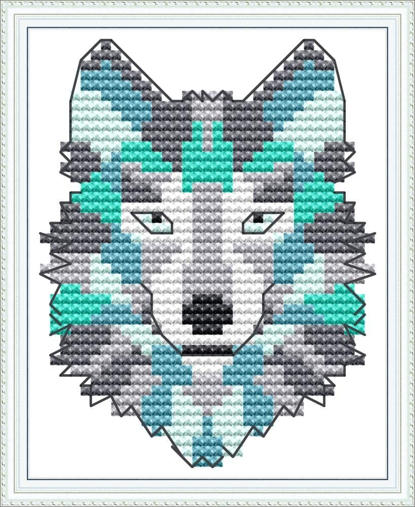 11CT, Fox 7.48X7.87 XIU TIME Cross Stitch Stamped Kits Holiday Gift Pre-Printed Embroidery Cloth Needlepoint Kits Easy Patterns for Beginners