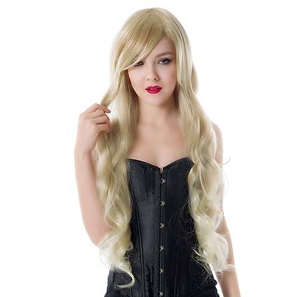 Dayiss® Mujer Gel ockt/ondulado Oro Pelo Artificial oblicuo/lateral Pony largo pelucas