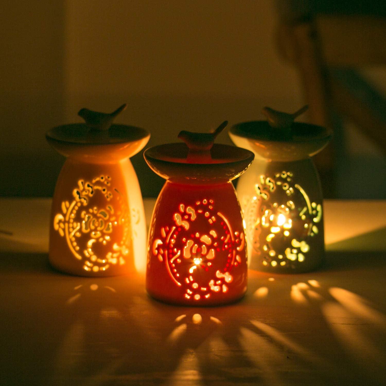 Wachsw/ärmer Aromatherapie Terrasse WANYA Teelichthalter aus Keramik Duftlampe f/ür /ätherische /Öle gr/ün Balkon tolle Dekoration f/ür Wohnzimmer Veranda und Garten