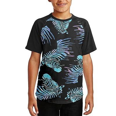 Watercolor Zebra Star Youth Short Sleeves Raglan Print Baseball T-Shirts Tees