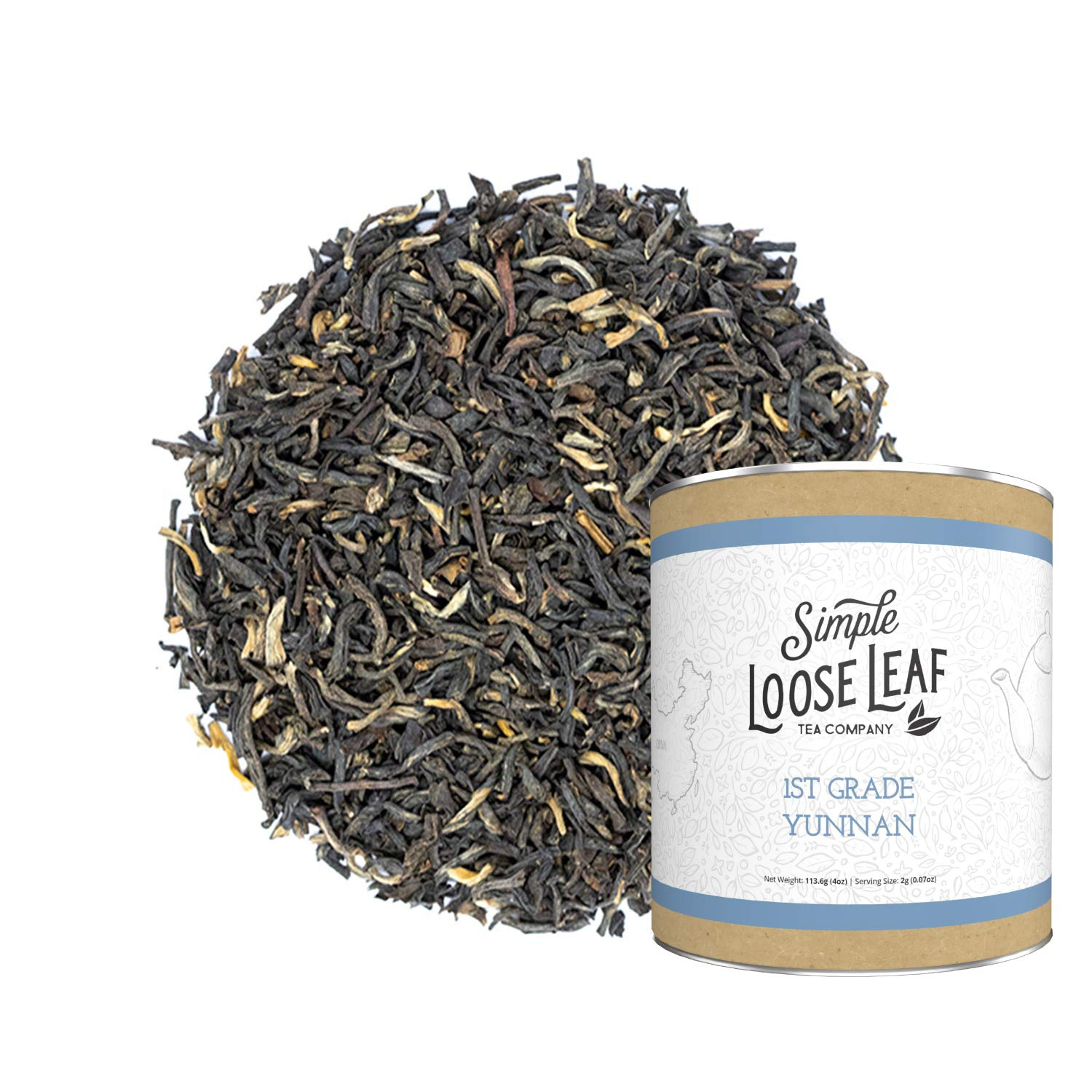 Simple Loose Leaf - 1st Grade Yunnan Black Tea - Premium Loose Leaf Black Tea (4 oz) - High Caffeine - Hearty and Rich - USA Hand Packaged - 60 Cups