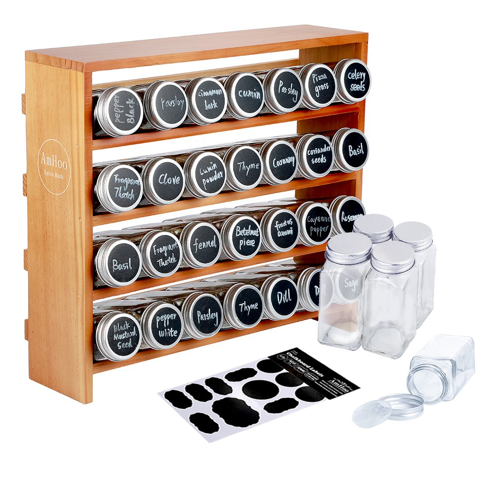 AmHoo Wooden Spice Rack with 28 Clear Glass Jar Bottles - 4 Tiers Seasoning Shelf Kitchen Spice Rack Organizer and 80 Chalkboard Labels by AmHoo