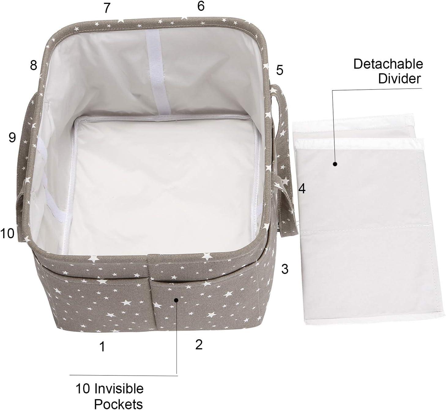 Hinwo Baby Diaper Caddy Recipiente de Almacenamiento Infantil de 3 Compartimentos Recipiente de Almacenamiento Organizador port/átil Cesta de Regalo con Divisor Desmontable y 10 Bolsillos Invisibles