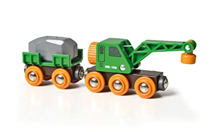 Brio World 33698 Clever Crane Wagon Set 4 Piece Train Accessory And Crane Toy For Kids Ages 3 And Up