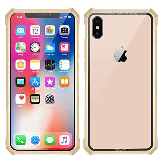 half off d3080 cfb94 Simicoo iPhone Xs Max case Hybrid Metal Bumper Anti-Scratch HD Transparent  Gorilla Glass Black Cover Ultra Slim Tough Shockproof Heavy Duty case for  ...