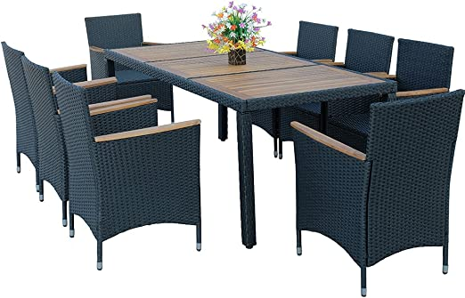 HG® 8+1 muebles de jardín Ratán Mesa de cocina Comedor Muebles ...