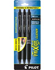 Pilot FriXion Clicker Retractable Erasable Gel Pens, Fine Point, Black Ink, 3-Pack -31464